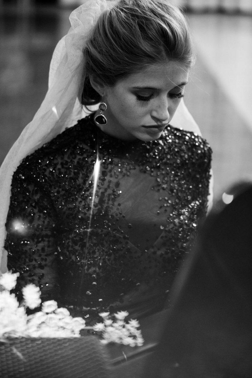 Fine Art Black Tie Wedding Inspiration Shoot bride on piano