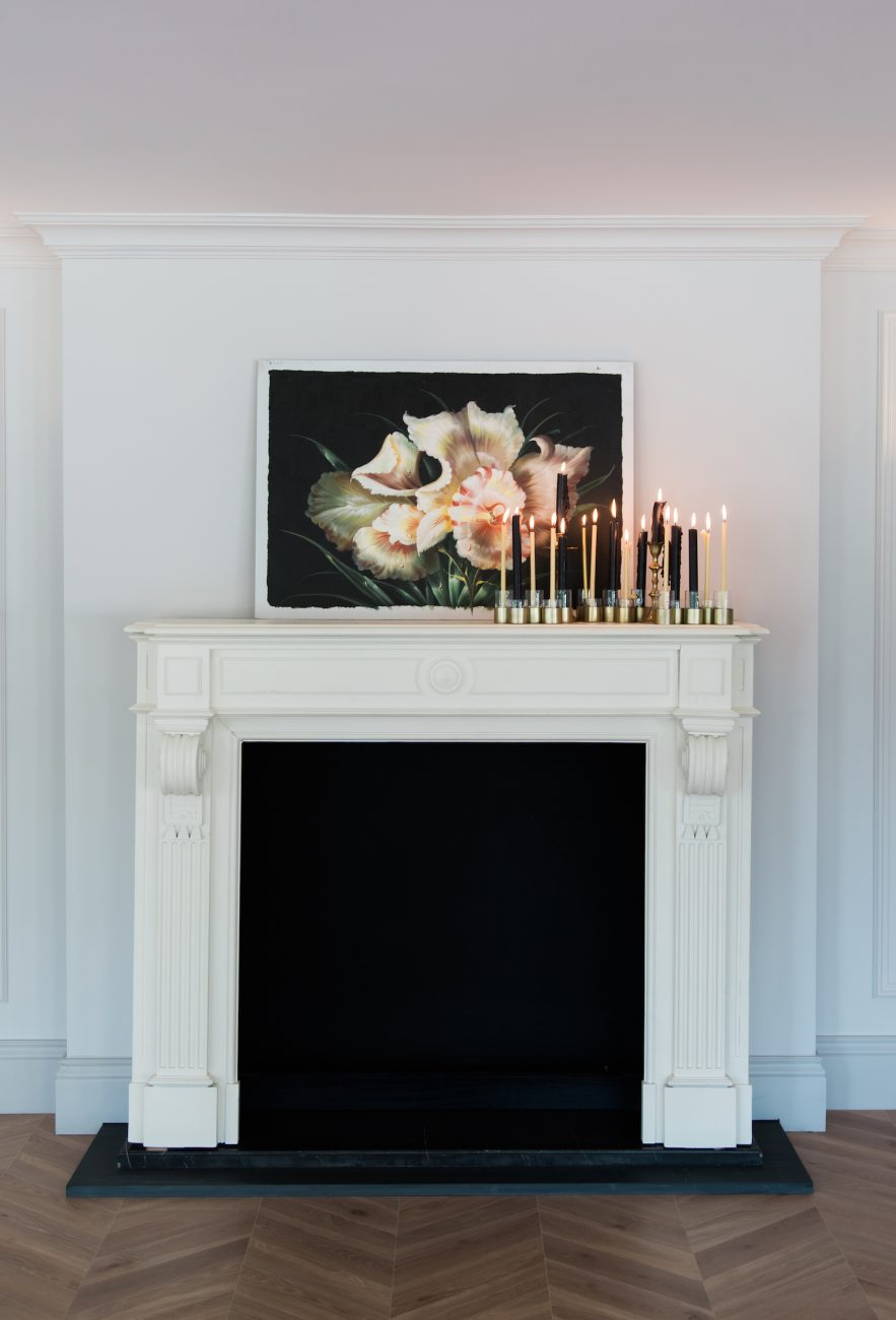 Fine Art Black Tie Wedding Inspiration Shoot fireplace with candles and painting