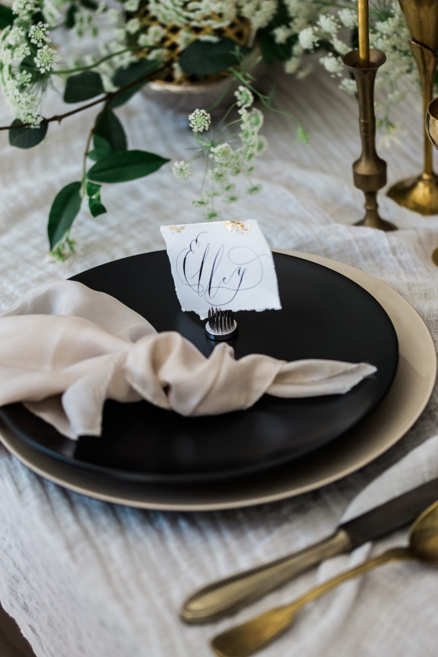Fine Art Black Tie Wedding Inspiration Shoot place setting with place name
