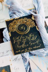 Invitation Glossary gold foil