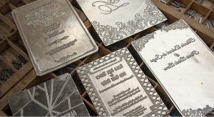 Invitation Glossary Gold Foil Plate