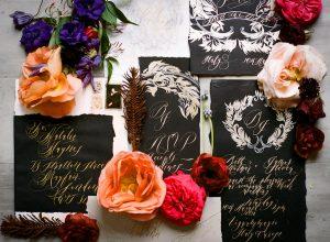 Invitation Glossary _ black hand painted wedding invitations
