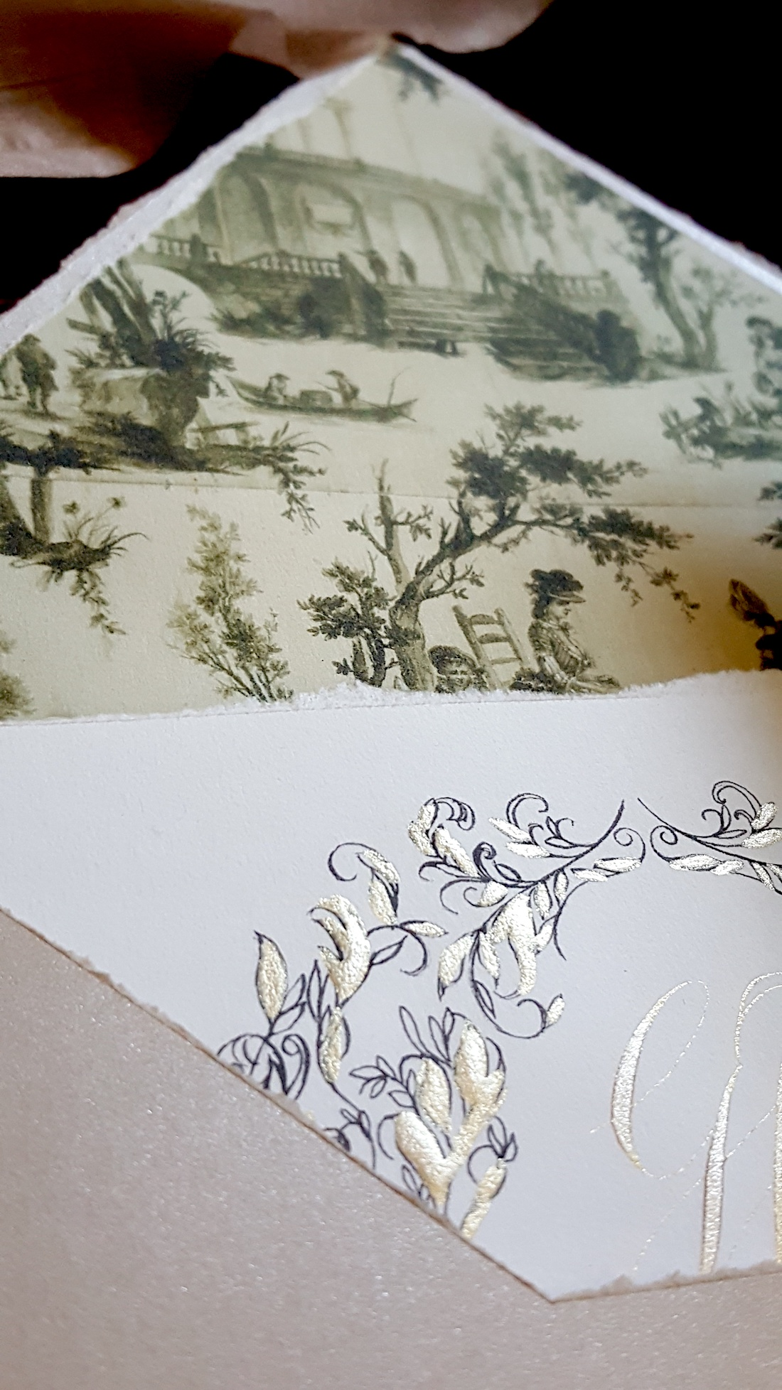 Invitation Glossary envelope liner with vintage painting envelope liner