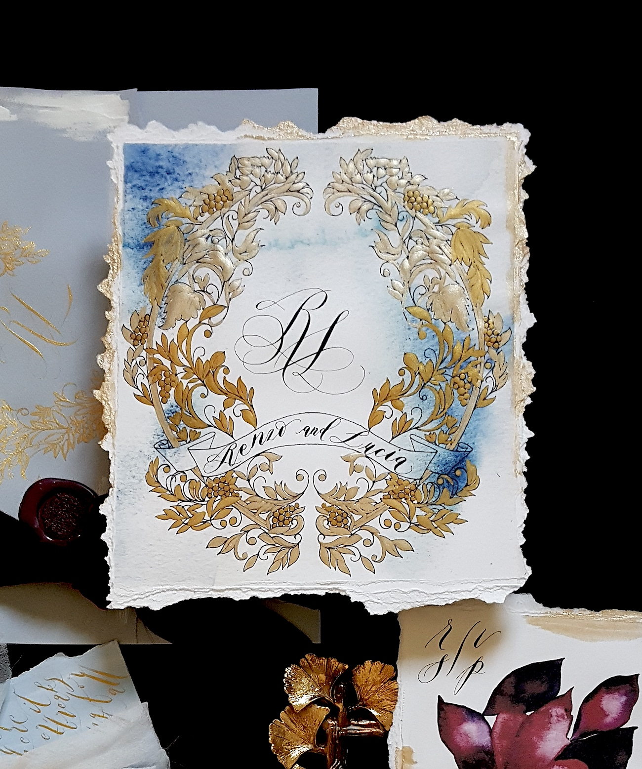Invitation Glossary - monogram card with couples names