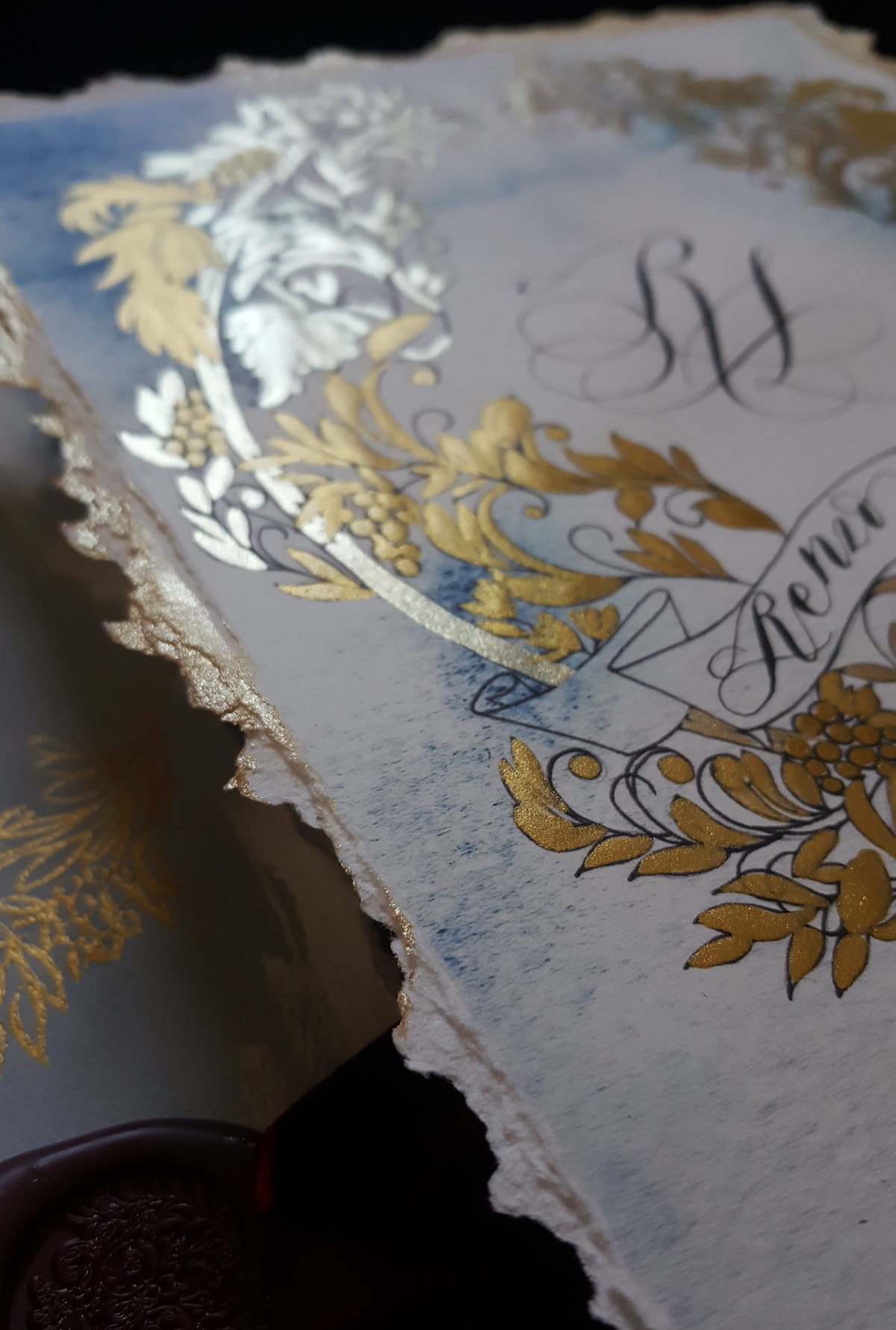 Invitation Glossary - monogram card with gold paint and gold edges