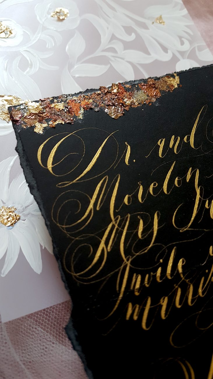 Luxury Hand Painted Wedding Invitations - Black Aubergine Equinox gold calligraphy