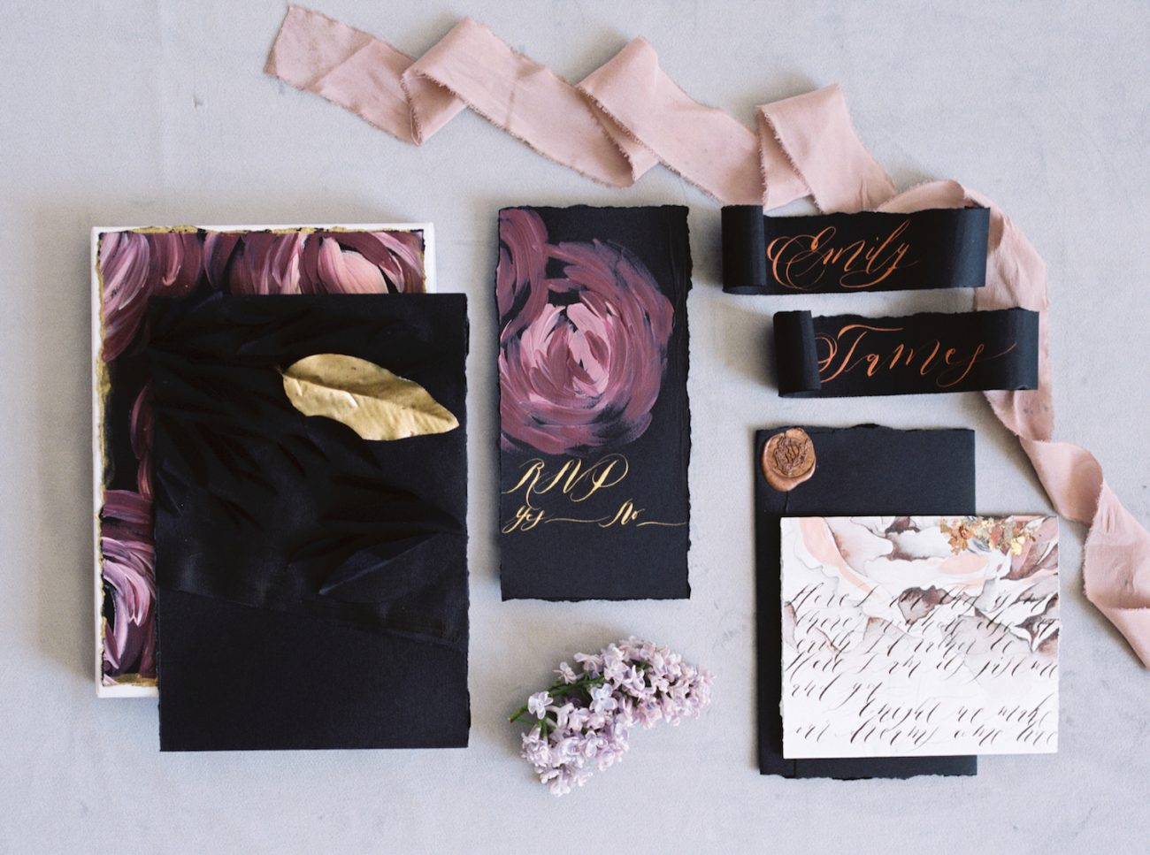 Luxury Hand Painted Wedding Invitations_black creative leaves and rsvp card