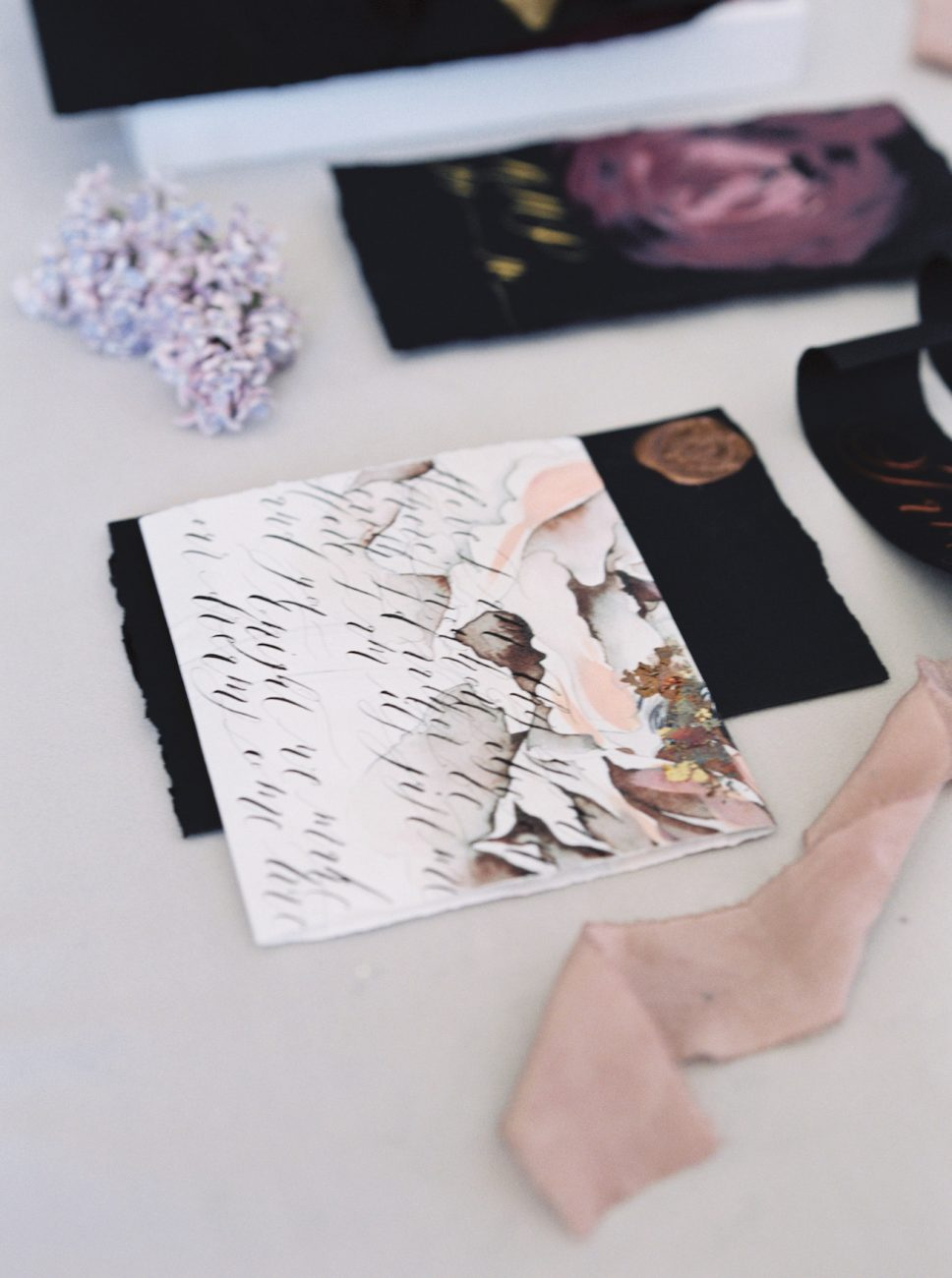 Luxury Hand Painted Wedding Invitations_copper foil on an invitation wrap