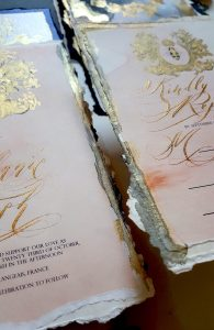 French Style Wedding Invitations gold edges
