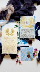 French Style Wedding Invitations with antique bee design