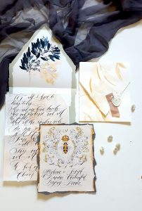 French Style Wedding Invitations with cream and black calligraphy