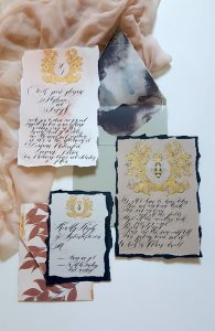 French Style Wedding Invitations with subdued colours