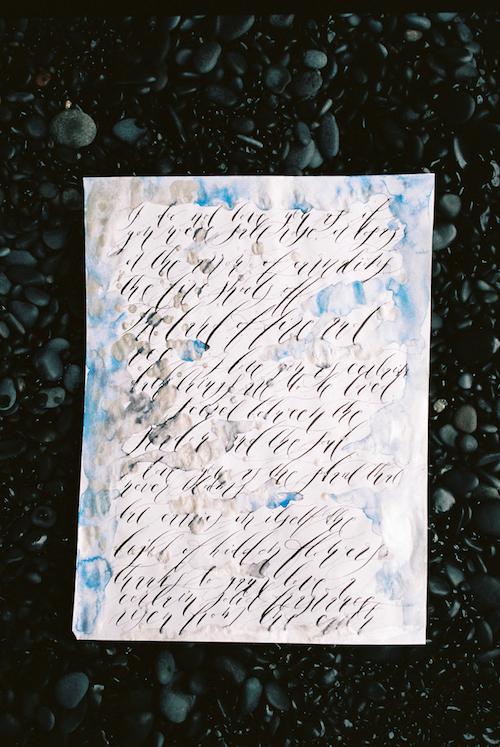 Luxury Handmade Wedding Invitations Calligraphy With Blue