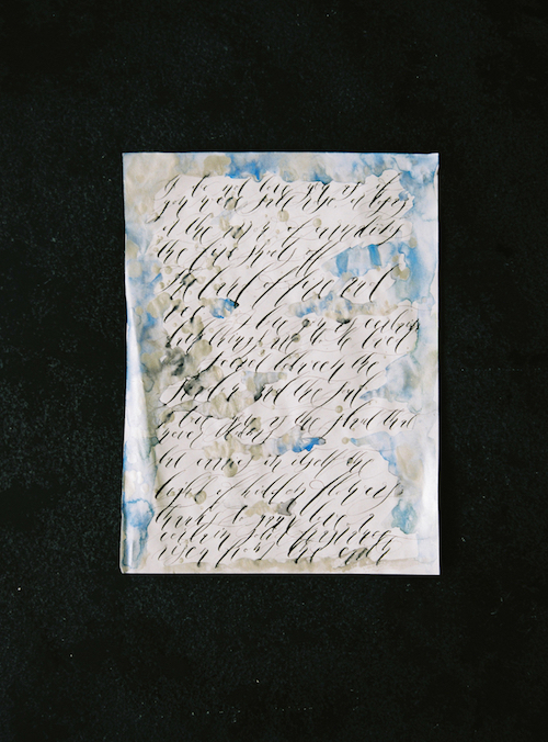 Luxury Handmade Wedding Invitations calligraphy with silver and blue watercolour