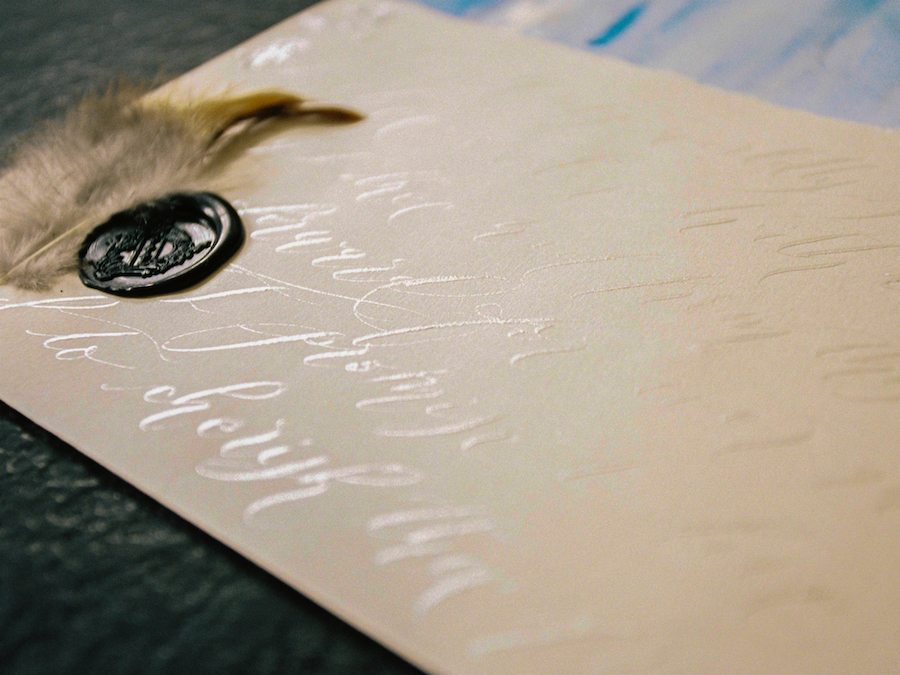 Luxury Handmade Wedding Invitations silver calligraphy copy