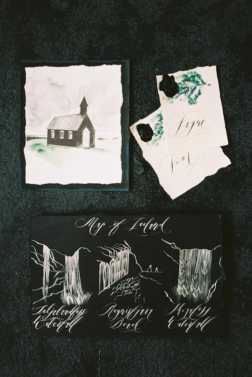 Luxury Handmade Wedding Invitations with an illustrated map of Iceland copy