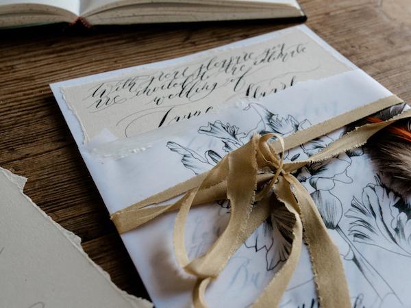 Luxury Handmade Wedding Invitations with vellum wrap copy