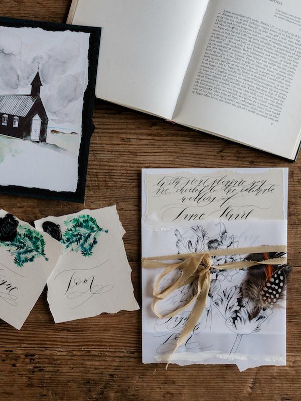 Luxury Handmade Wedding Invitations with wedding venue illustration and crean invitation with black calligraphy