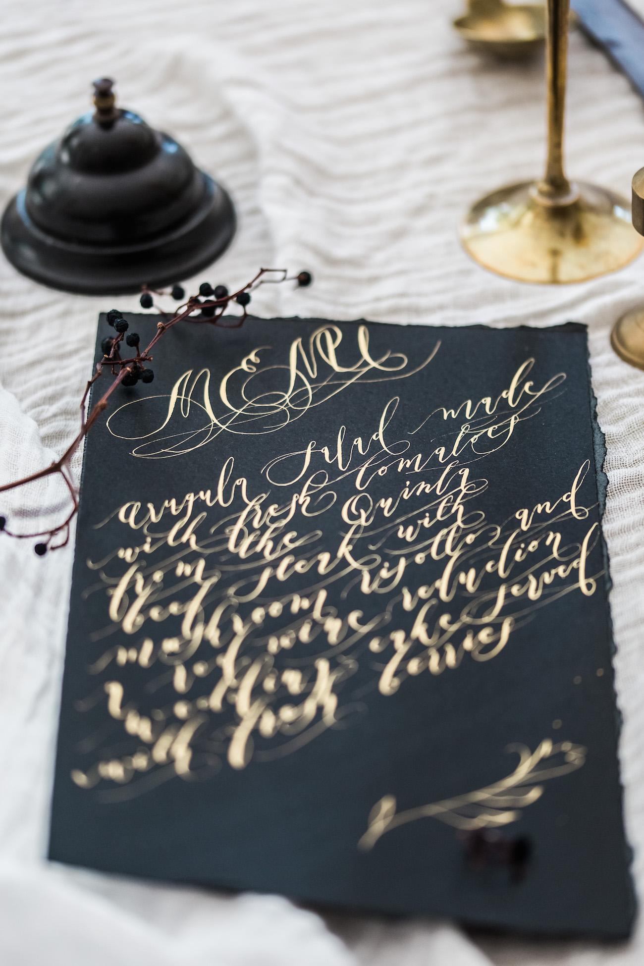 Black Tie Wedding Invitations Black Wedding Menu With Gold