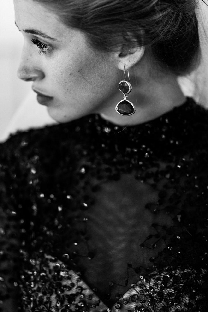Black Tie Wedding Invitations bride with black dress and black earrings