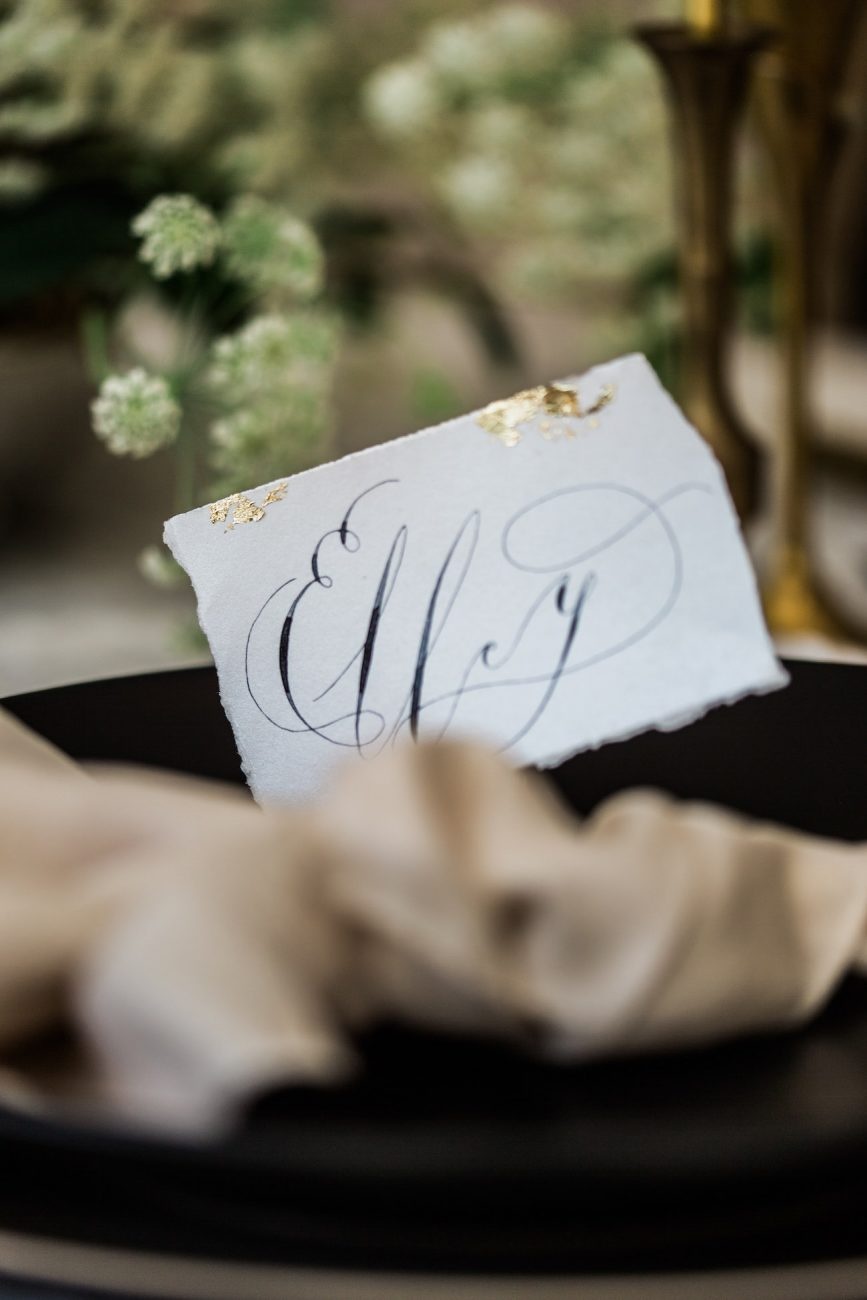Black Tie Wedding Invitations place name close up view