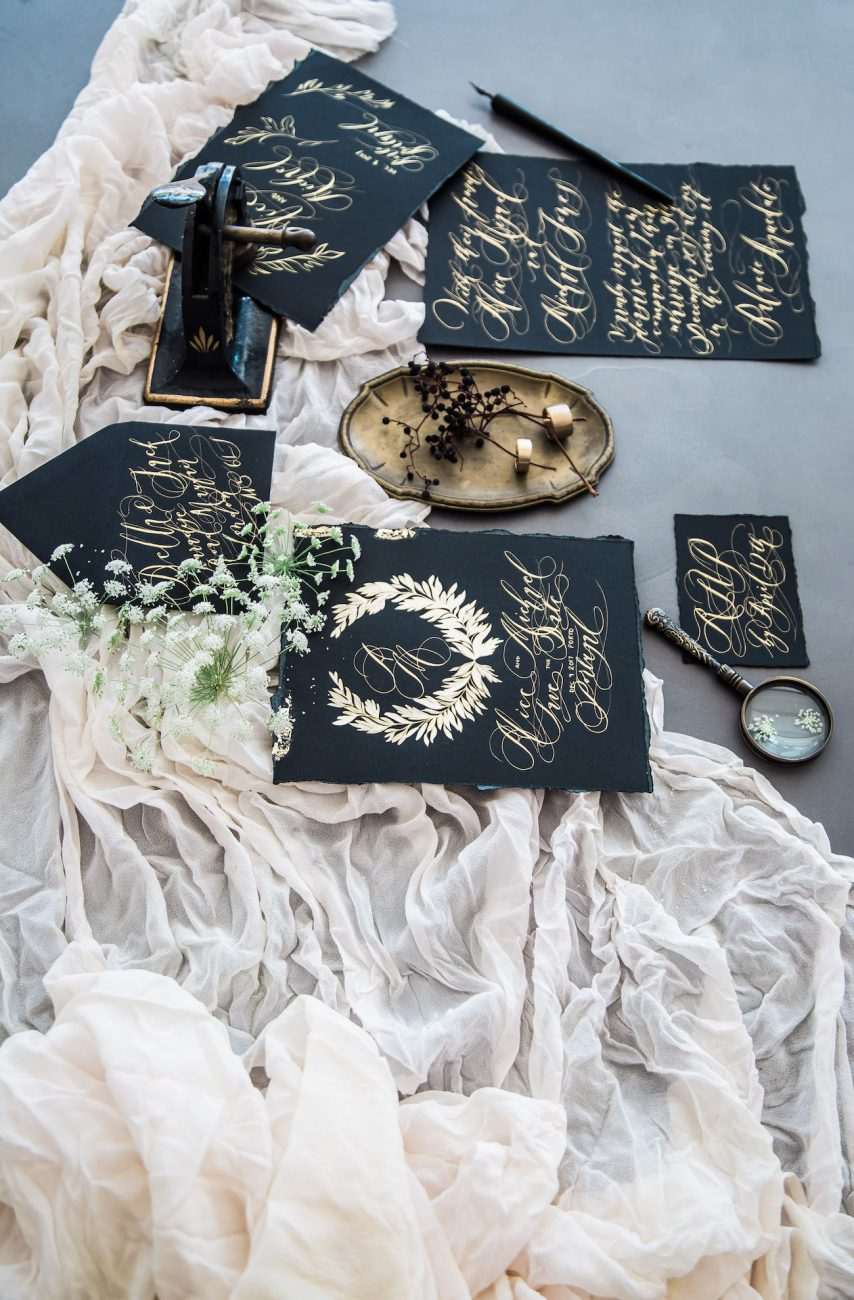 Black Tie Wedding Invitations with full collection