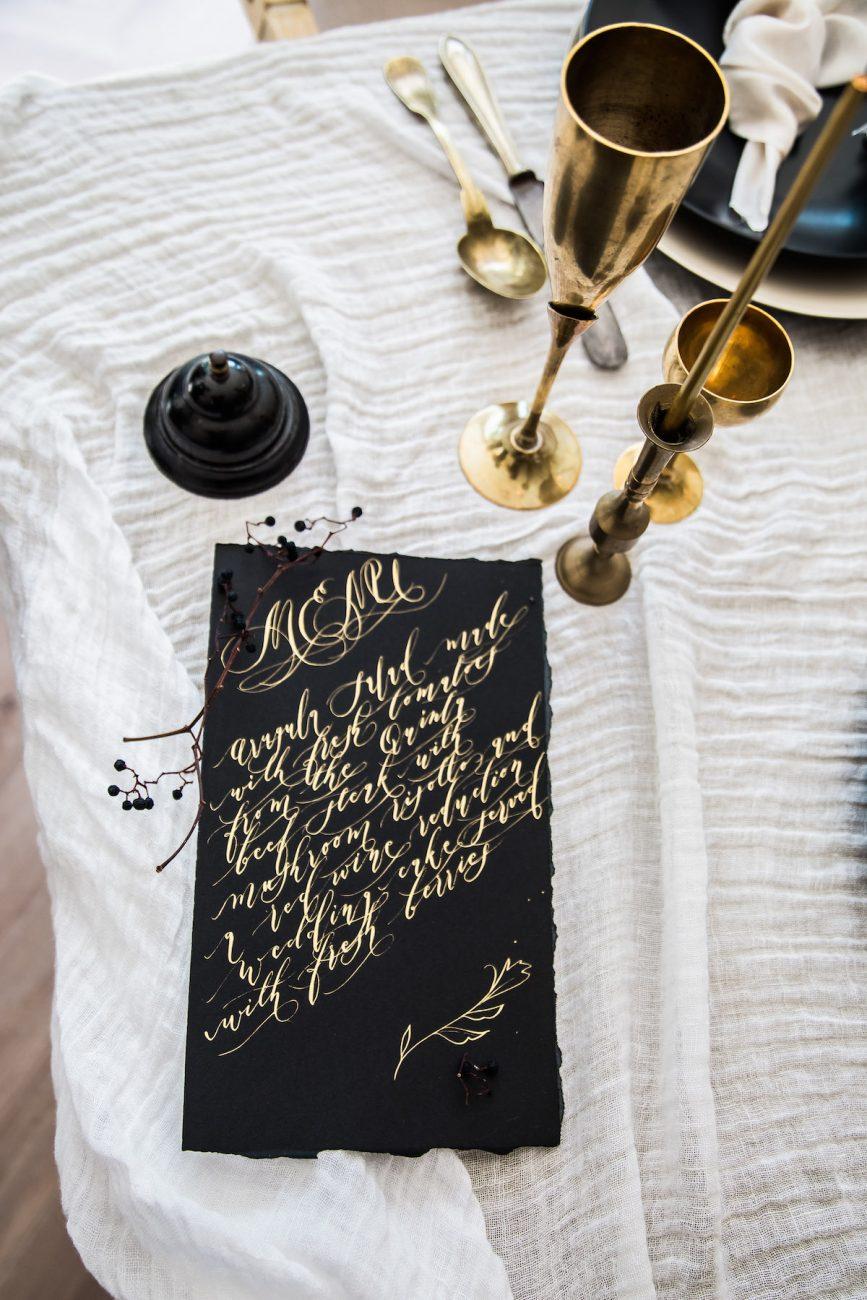 Black Tie Wedding Invitations with menu