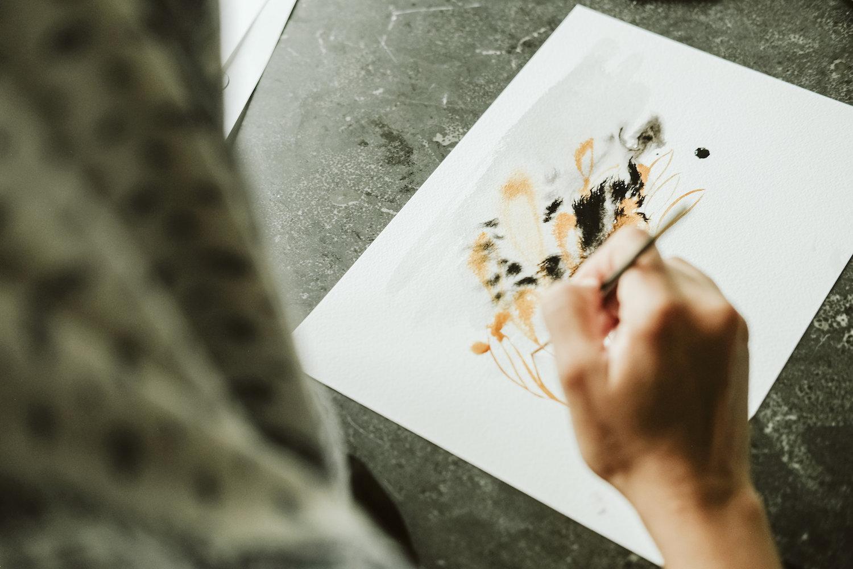 Custom Hand Painted Wedding Invitations artwork