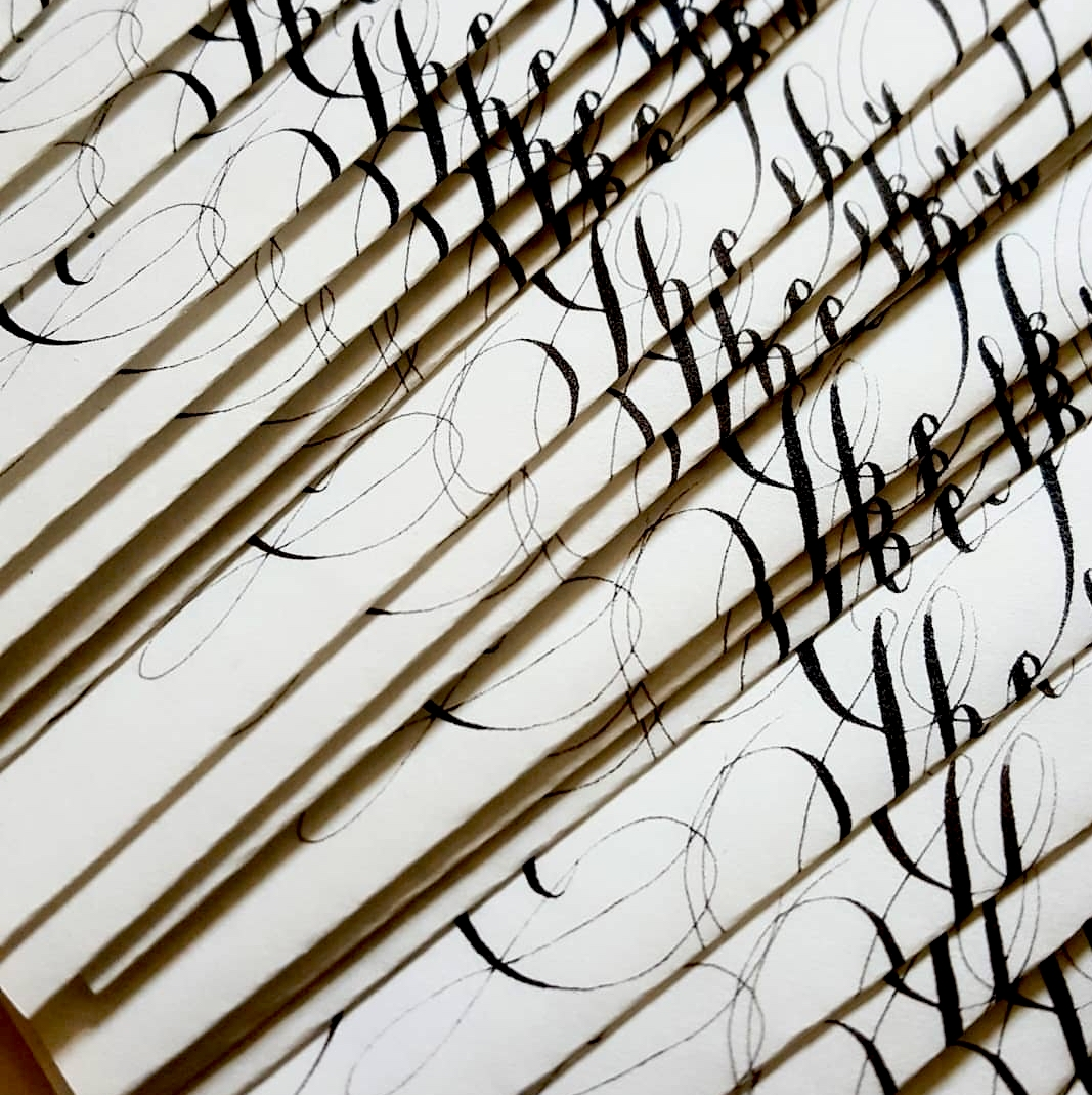 Custom Hand Painted Wedding Invitations black calligraphy
