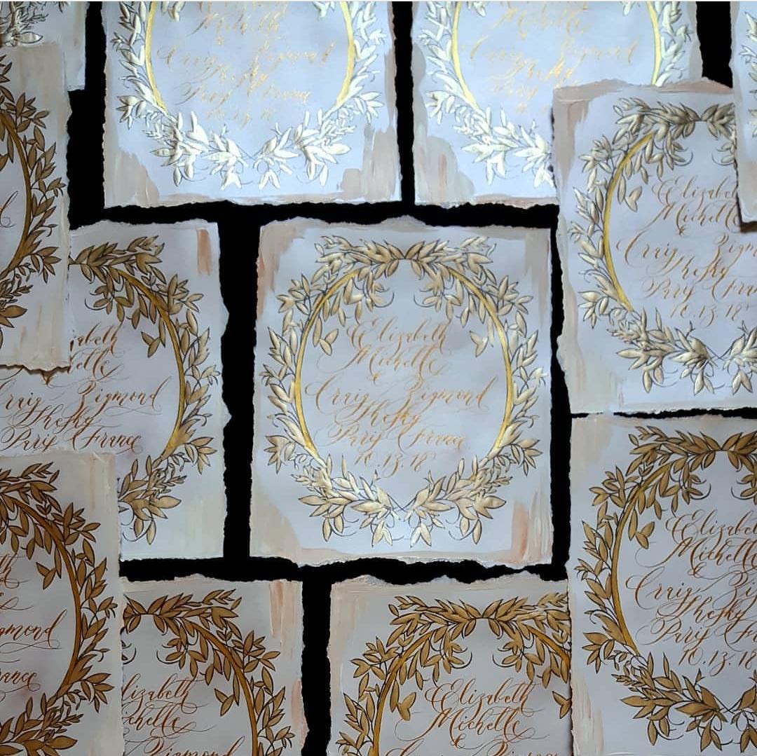Custom Hand Painted Wedding Invitations Paris stationery