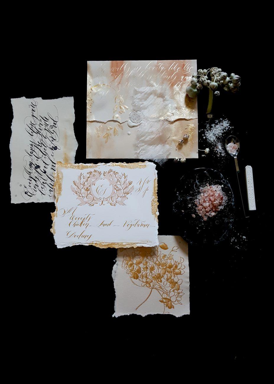 Custom Gold Foil Invitations - Rsvp envelope with gold edges