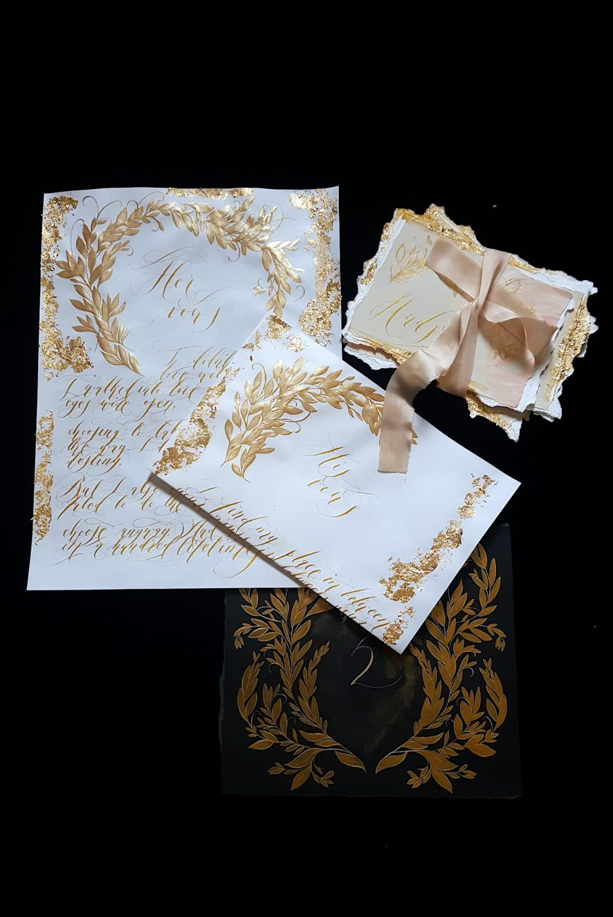 Custom Gold Foil Invitations - Vows in gold calligraphy