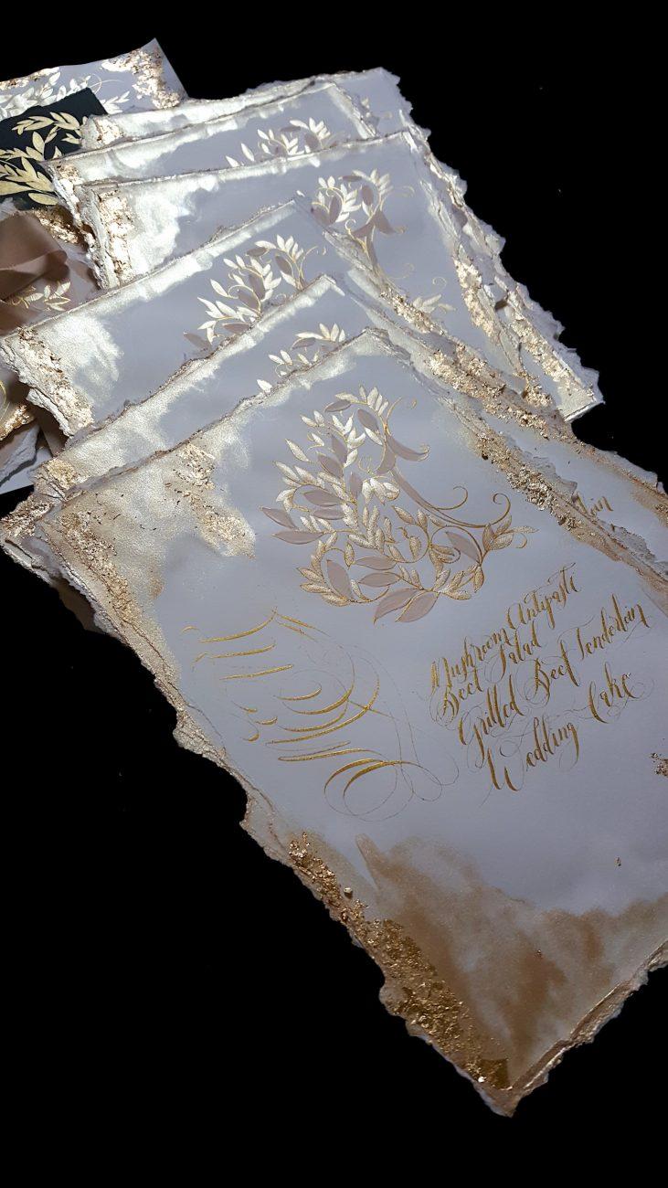Custom Gold Foil Invitations - gold painted wedding menus