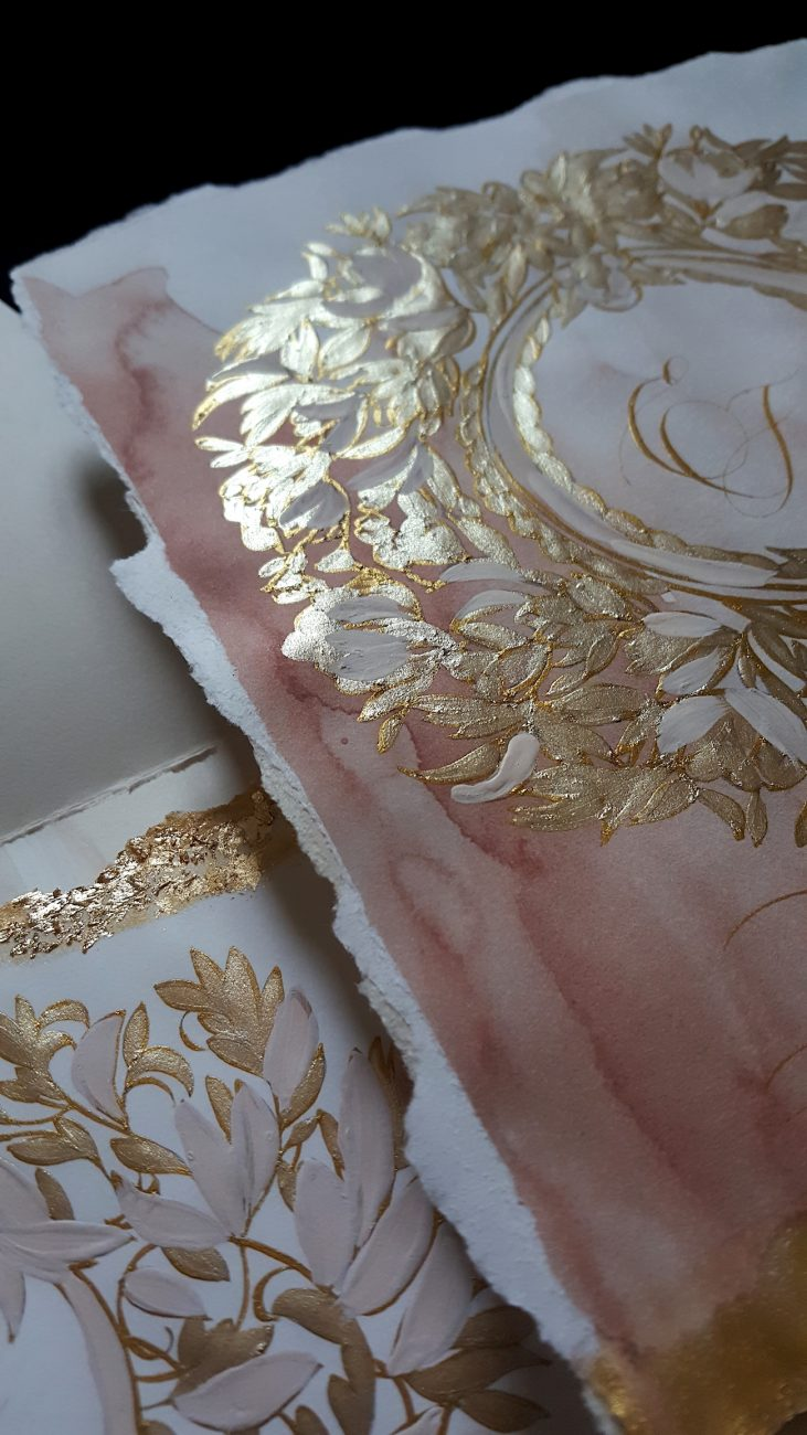 Custom Gold Foil Invitations - information card with large gold hand painted crest