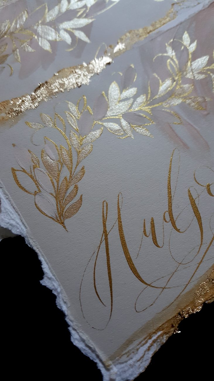 Custom Gold Foil Invitations - place names with gold painted details