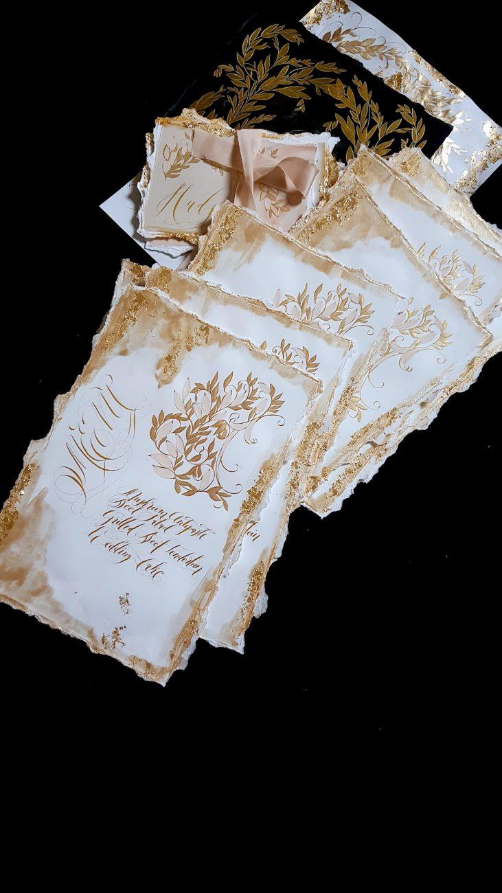 Custom Gold Foil Invitations - white and gold wedding menus