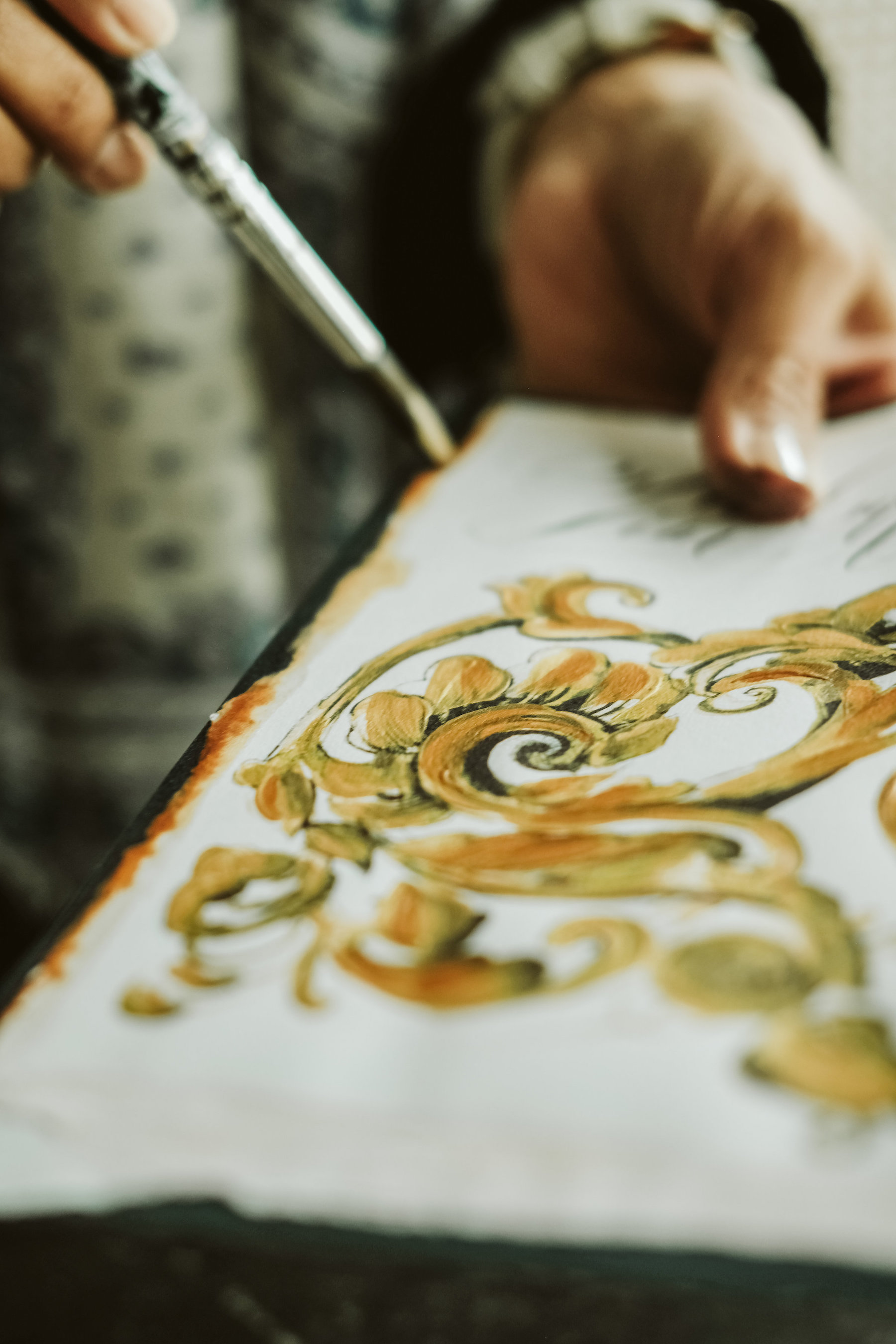 Custom Hand Painted Wedding Invitations - gold painted details