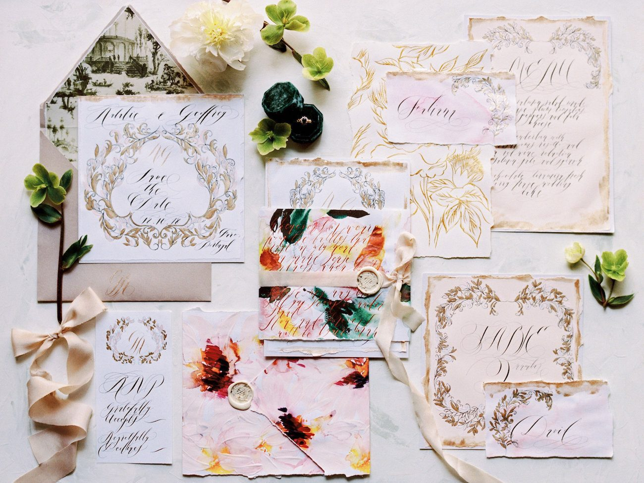 Hand Painted Wedding Invitations entire collection with suite, table number - and menu