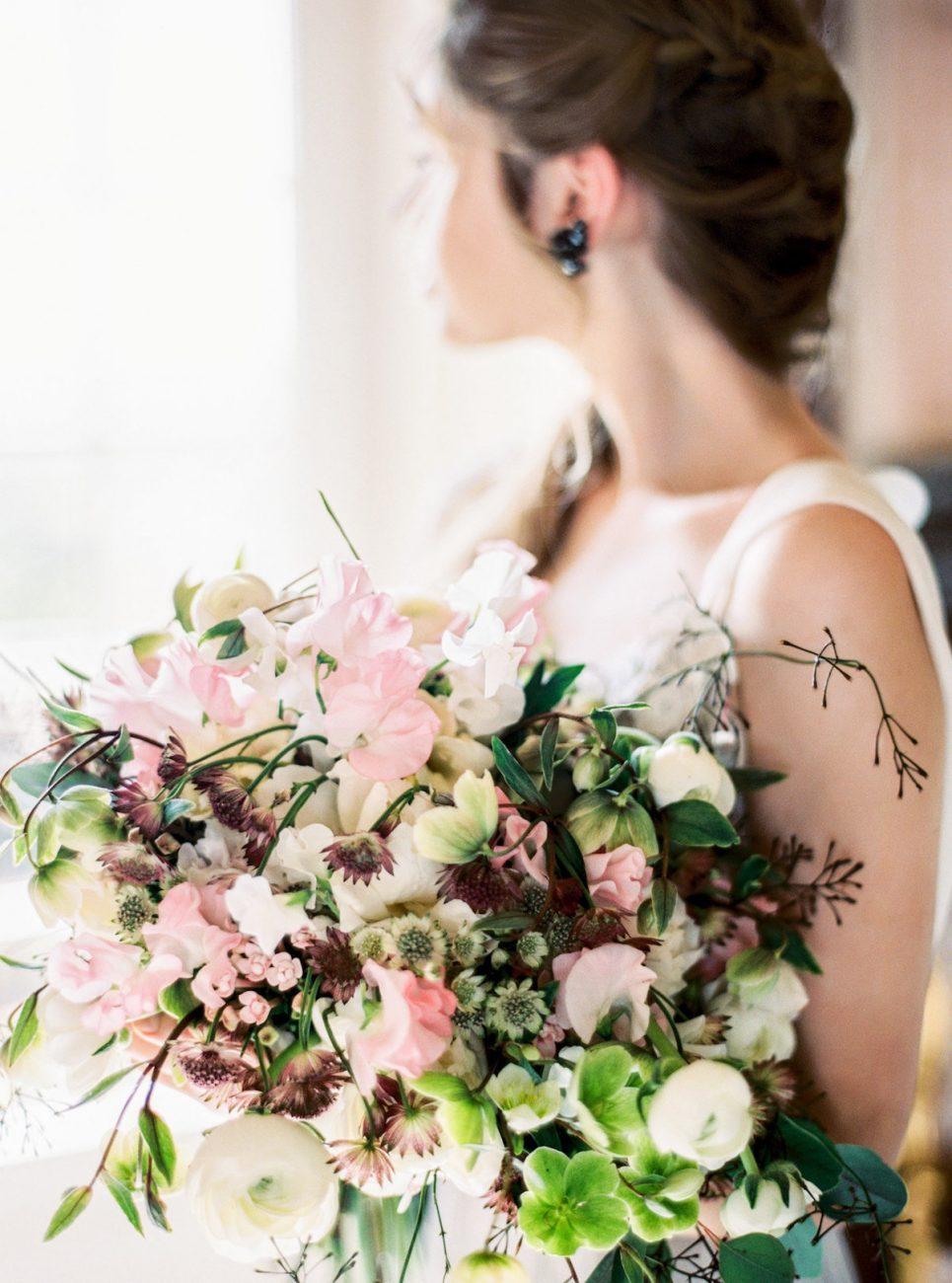 Palace Wedding Inspiration bridal bouquet close up