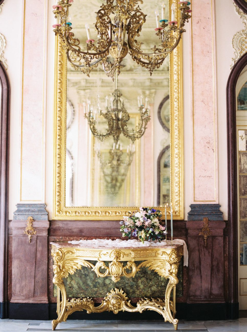 Palace Wedding Inspiration - gold antique furniture with large chandelier