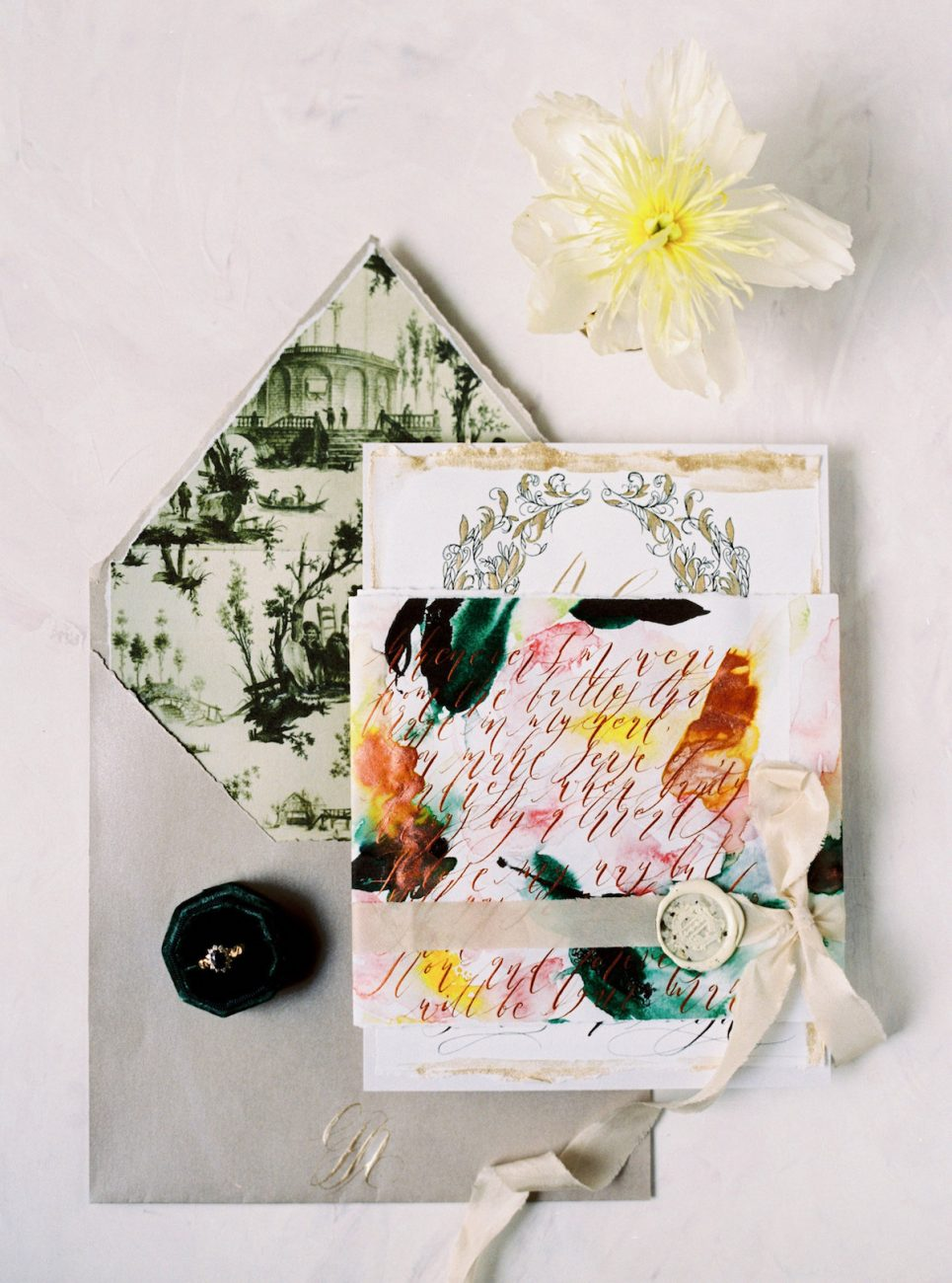 Palace Wedding Inspiration - hand painted wedding invitations with printed envelope and wax seal