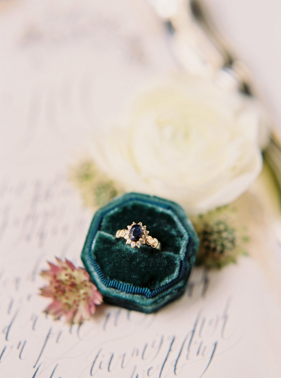 Palace Wedding Inspiration - ring with calligraphy