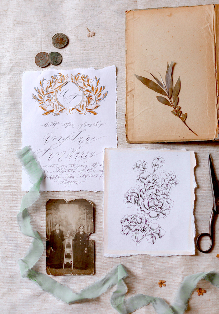Wedding Style Shoots - workshop photograph of styled stationery flatlay