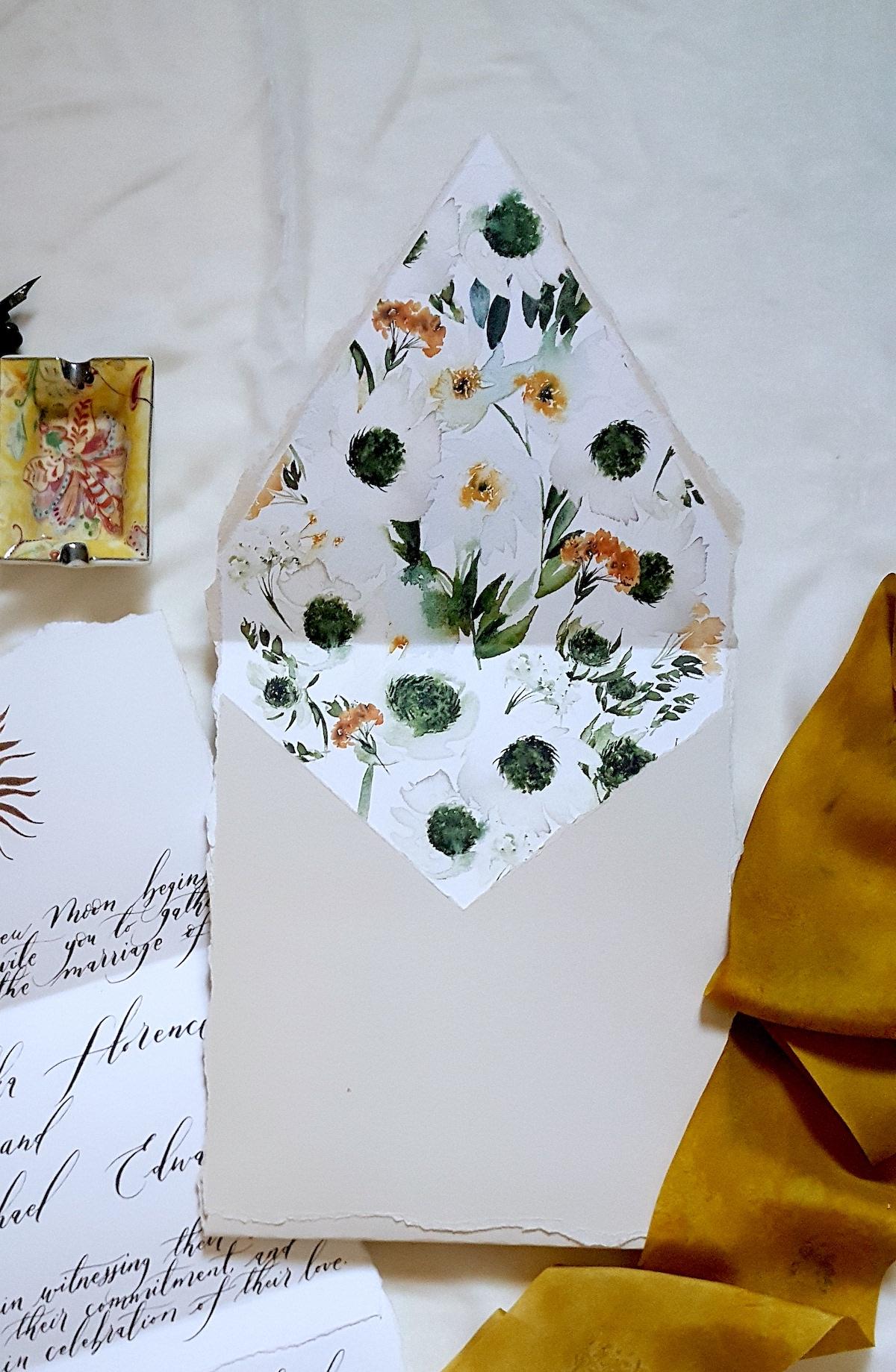 Bespoke Watercolour Wedding Invitations Grey coloured envelope