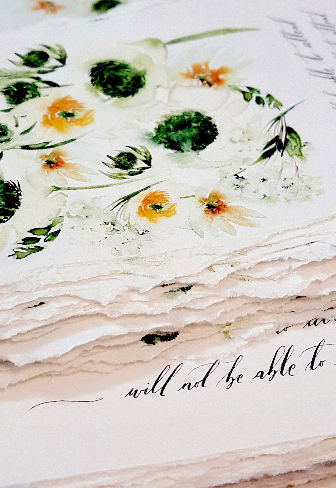 Bespoke Watercolour Wedding Invitations hand torn edges and deckled rsvps with floral designs