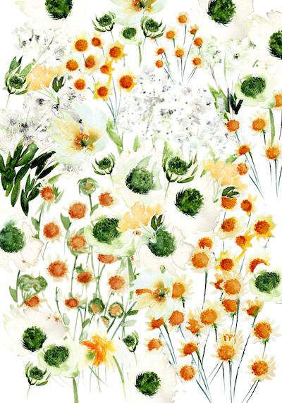 Bespoke Watercolour Wedding Invitatios Envelope liner with lots of wildflowers