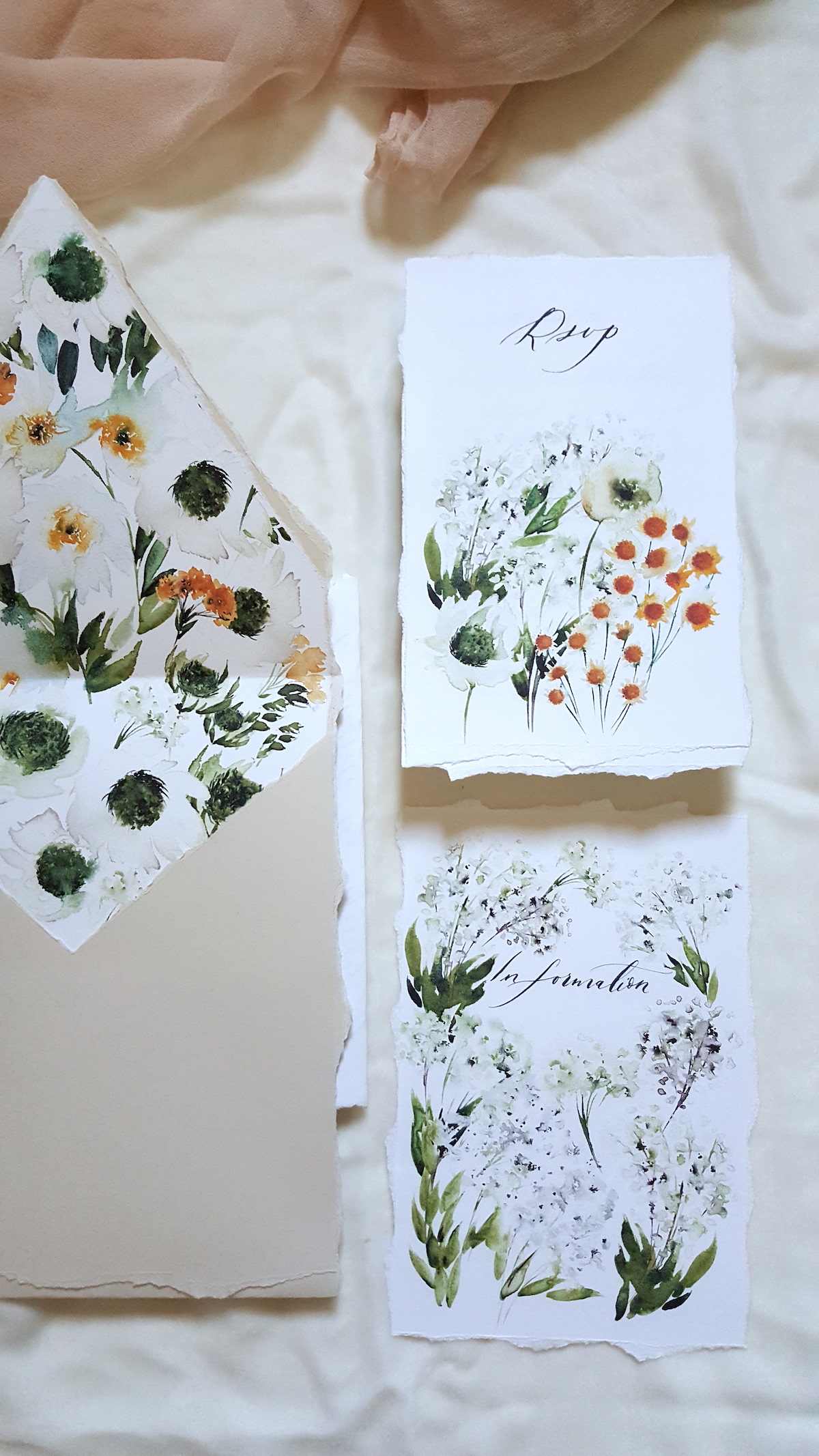 Bespoke Watercolour Wedding invitations with daisies and small white florals