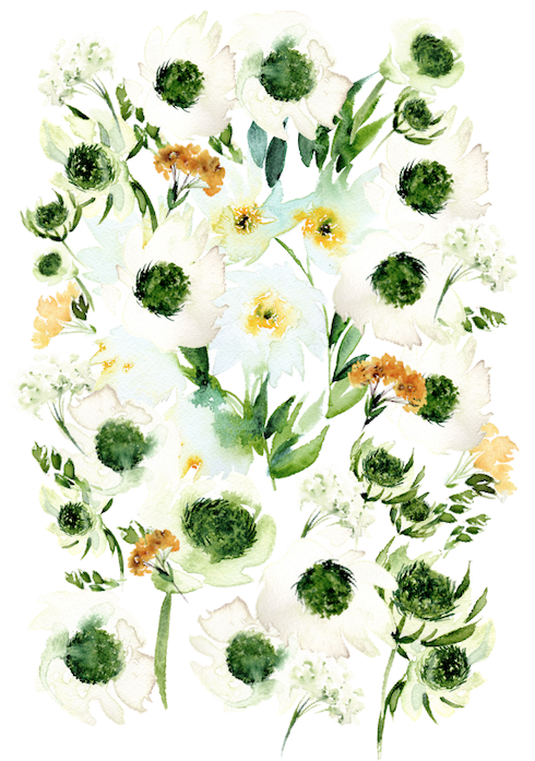Bespoke watercolour wedding invitations- enevlope liner with white and green flowers