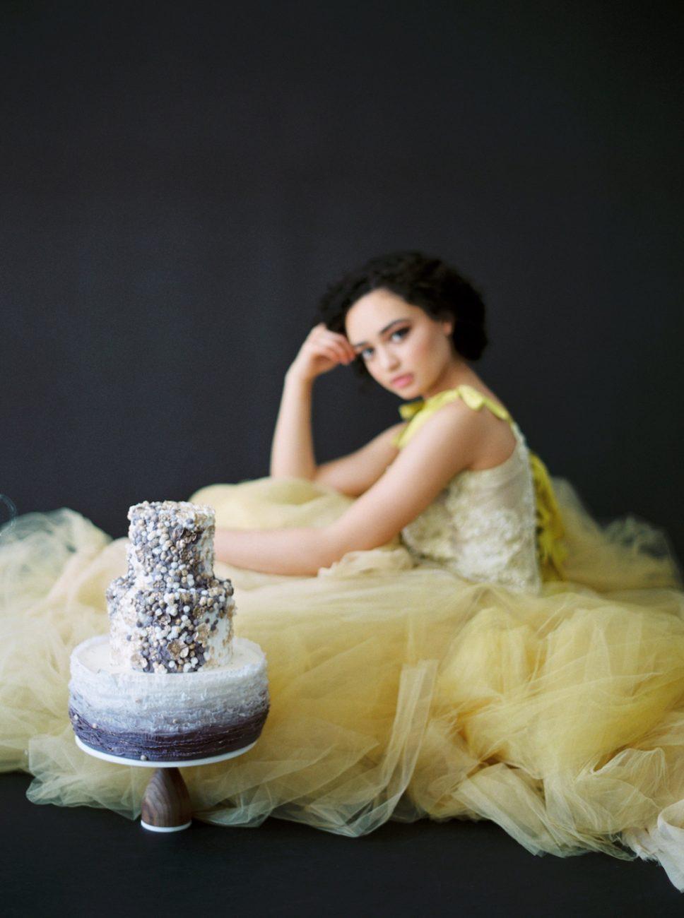 Moody Black Wedding Inspiration_multi coloured cake