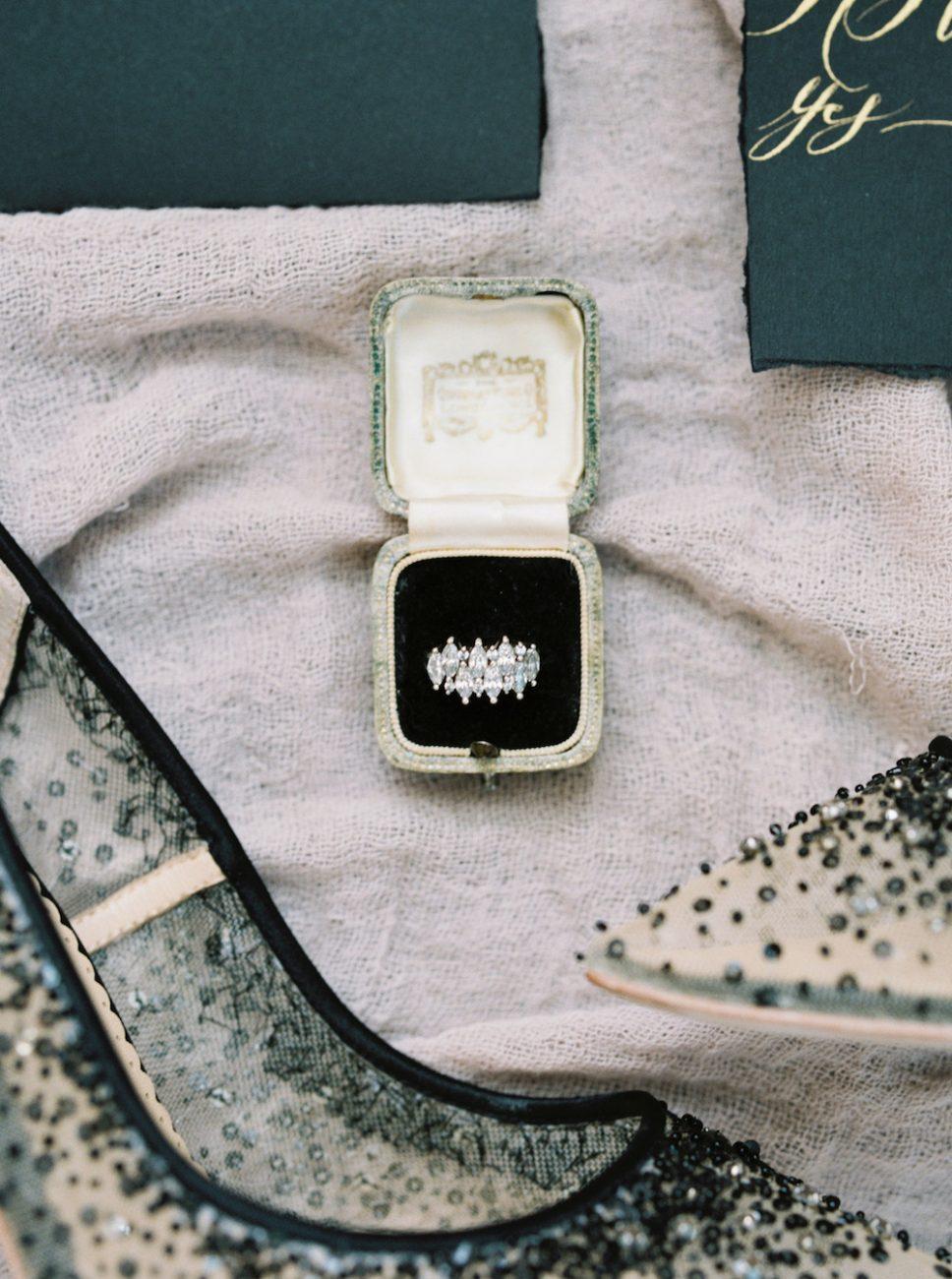 Moody Black Wedding Inspiration_ring with stationery